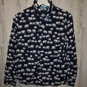 Crown & Ivy elephant print cotton button down top